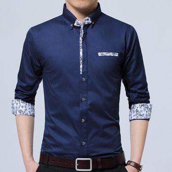 Camisas De Hombre De Manga Larga De Color Sólido De Ocio -Azul Oscuro a9bbad3b865b5