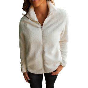 7c737ad9fb4af Borroso Chaqueta de lana con cremallera para Mujir Pretchic LC85081-1-blanco