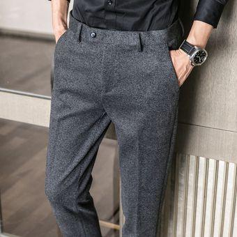 Pantalones De Traje De Oficina De Lana Para Hombre Pantalones De Vestir Formales De Estilo Britanico De Lana Ak937 Black Gray Linio Colombia Ge063fa0gz3qllco