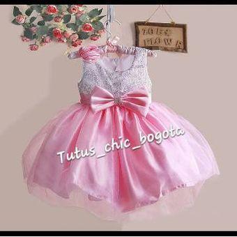 Vestido Niña Elegante Lentejuelas Rosado