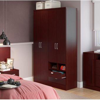 Ropero Closet Bertolini 597 4 Puertas 2 Cajones Caoba