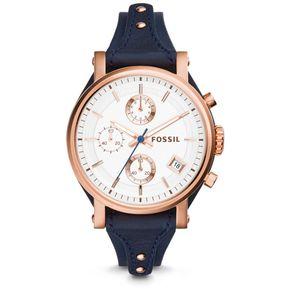 2cf0557b08e1 Reloj Para Mujer Fossil Boyfriend De Cuero Azul Marino