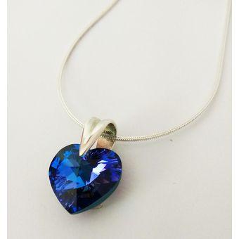 e865840a1dfd Collar Mujer Plata Peruana C  Dije Corazón Cristal Swarovski Morado Púrpura  - Plateado