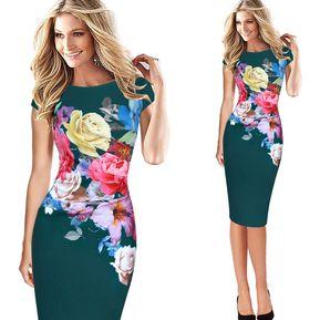 a6fd405a1 Vestido LáPiz Estampado Floral Ajustado - Verde
