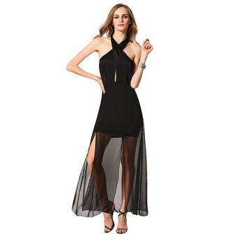 3421fa613 Zeagoo Vestido Escote Halter Para Mujer-Negro