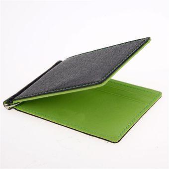 Compra Billetera Clip Hombre Cuero Sintetico - Color Negro Verde ... 174f1bbe208