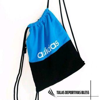 40ce606c3 Tula Deportiva Adidas Bicolor Azul-negra Tula Gimnasio Grande Estampado  Full Tula Bolso Gimnacio
