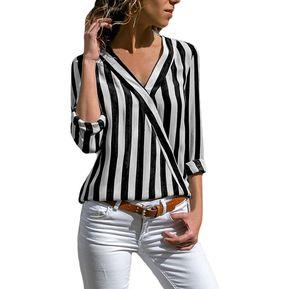 Blusa De Cuello V A Rayas Fashion-cool Mujer- Negro Y Blanco 0a960c98a2d2a