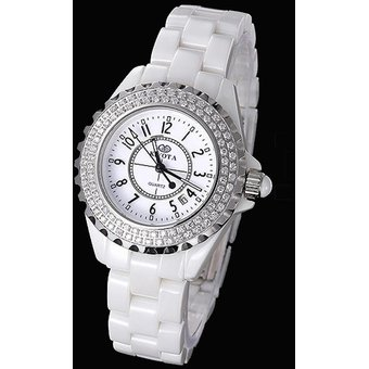 louiwill cermica calendario de la moda mujer sencilla blanco kinyued relojes x del reloj