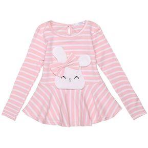 cbb5a1567 Camiseta Rayas Lindo O-cuello De Manga Larga Para Niños Niña-Color De Rosa