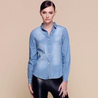 821c5239819b Newest 2017 mujeres ropa casual blusa de manga larga camisa de mezclilla  azul Vintage jeans camisa bajar collar para mujer-Azul