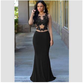 Mujer Vestido Largo Estilo Elegante Mangas Largas Con Encaje Color Negro