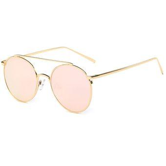buena calidad comprar el más nuevo 2019 auténtico ER La Mujer Elegante Marco De Metal Colorido Lente Redonda Gafas Gafas  UV400 -Marco Dorado Lente Rosa