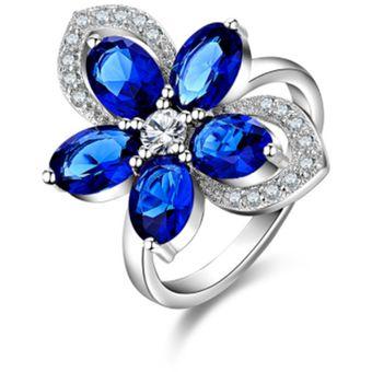 165b39308d6e0 Anillo Promesa Azul Zafiro Flor De Zirconías Cúbicas En Plata .925 -Amour