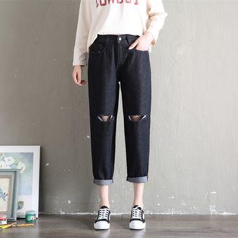 Pantalones Capri De Mezclilla Con Dobladillo Sin Rematar Elasticos Rasgados Para Mujer Jean Linio Peru Ge582fa1n5lp1lpe