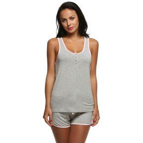 51f1e3b263 Ekouaer Pijama De Top Y Pantalón Corto Para Mujer-Gris