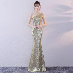 8a7dda677f Vestido de dama de honor de lentejuelas de encaje largo vestidos de fiesta