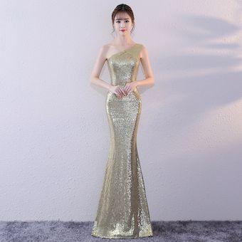 9dff73b6c015 Vestido de dama de honor de lentejuelas de encaje largo vestidos de fiesta