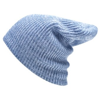 Autumn Winter Stripe Tejer Sombrero Calido Gorro De Lana (Baby Blue) 38d09472578