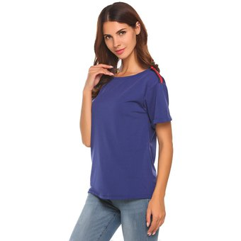 80b915b300 Meaneor Camisa Casual Blusa Modal Cuello Redondo De Manga Corta De Remiendo Casual  Camiseta Suelto Modern
