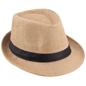 ER Unisex Fedora Sombrero Trilby Cap De Paja Estilo Panamá Condensable  Travel Sun -Caqui acd294ad936