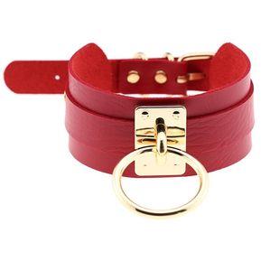 8746211367e0 europeos y americanos Harajuku PU cuero Dorado solo Anillo Collar  Gargantilla Collar en forma de o