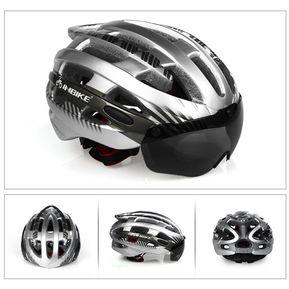 f37f5e6d1b Casco gafas protectoras casco de bicicleta integrado.-Plata-M