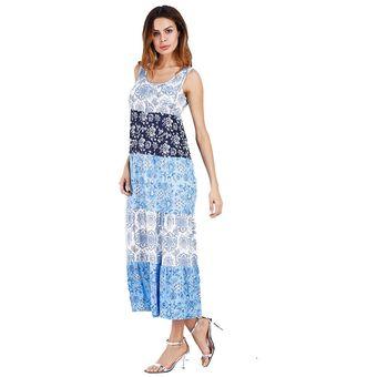 28fd400fd Moda Imprimir Vestido Falda Femenina Modelos De Verano Vestidos Mujer-Azul
