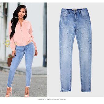 Mujer Perla Denim Jeans Perlas Estiramiento Pantalones De Mezclilla Linio Mexico Ge032fa0r0tlilmx