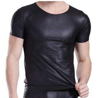 Compra Polo Hombre Sexy De Cuero Negro Camiseta Culturismo online ... 7660be8a35f89