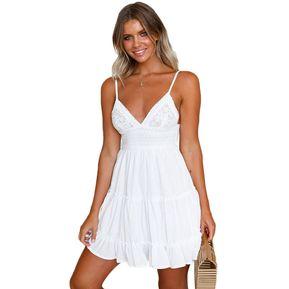 f91fecd93 Vestido De Encaje Sexy Sin Espalda Con Lazo - Blanco