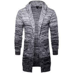 Sudadera con capucha de los hombres de moda suéter de punto largo-gris bd94c4b633d7