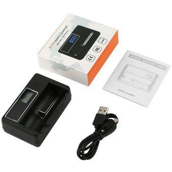 50d89e0fd34 Cargador De Batería Inteligente LCD Universal Para Pilas Recargables 18650  26650 Negro