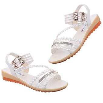 7d7aed7a4e1 Agotado Moda Mujer Verano sandalias al tobillo elásticos suela suave  zapatos planos Blanco