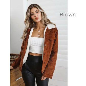 mejores marcas colores delicados rendimiento superior Otoño Invierno Chaquetas de lana de cordero para mujer Abrigo Marrón / S