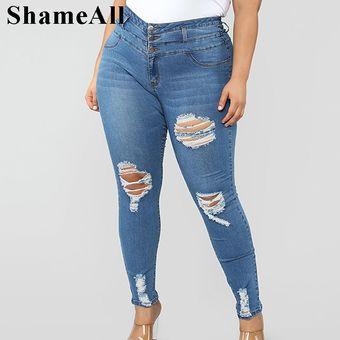 Pantalones De Mezclilla Elasticos Para Mujer Cintura Alta Talla Grande Boton Up Azul Claro Agujero Rasgado Ajustado Largo 4xl Primavera Otono Dark Blue Linio Peru Un055fa1n1z3dlpe