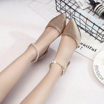 Compra Zapatos Mujer Con Pulsera De Pera Como Cordón - Oro online ... 8a5c7b937061