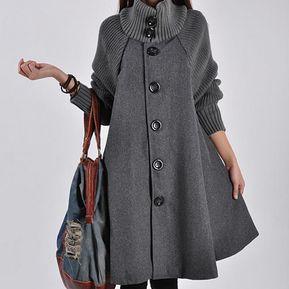 45d009b669 Abrigo de lana floja de invierno abrigos mujer moda mujer abrigos