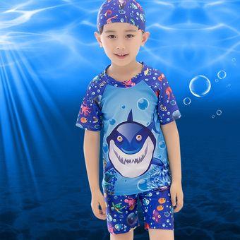 936dd1cc5 Traje De Baño Para Niño 3 Piezas (camiseta + Falda + Gorros De Natacion )