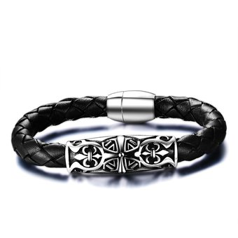 2ebefce1c9c95 Bracelet pulsera Swarovski Elements de de los hombres brazalete  personalizado grabado Negro