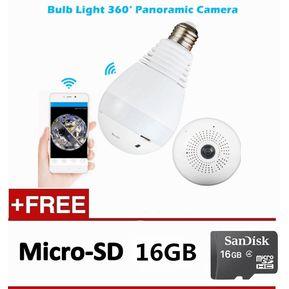 Cámara del Wi-Fi de 1080P Cámara de la luz de la bombilla de 360