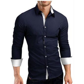 a6c8948b858d9 Compra Camisas De Manga Larga Casual Slim Camisa De Vestir Hombres ...