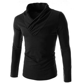 5f8c4767814 Compra Hombre Camisa Mangas Largas Sueter De Cuello V Color Negro ...