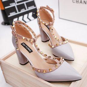 Zapatos De Tacón Remache Zapatos Romanos Para Mujer - Gris 90aae8079df3