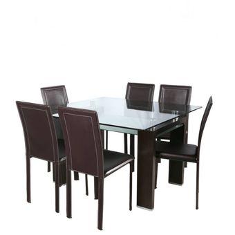Compra Comedor Spazzio Mesa Prisma Nogal + 6 Sillas Royal Café ...