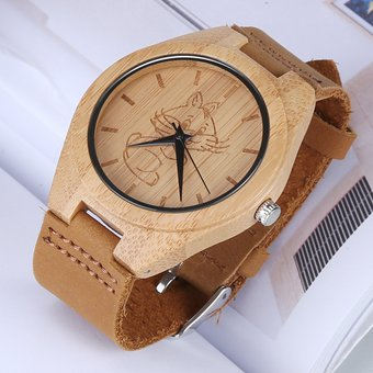 Redonda Bambu Cuero Esfera Personalidad Correa Moda De Shell La Reloj Gran Con 4AjR53L
