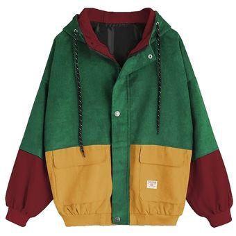 ccb8b8c40243 Compra ZAFUL-Chaqueta de pana con capucha en color block-verde ...