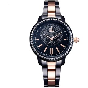 ae2992dbbc83 Reloj Mujer de lujo casual movimiento cuarzo color negro rosa gold