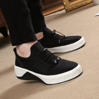Casual Gruesa Negro Zapatos Los Hombres De Elástico Tejido Tenis Suela Lycra Deportes kPw8OXn0