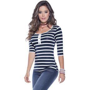 f64832bbb43f2 Blusa Adulto Para Mujer Marketing Personal 93093 Azul Blanco